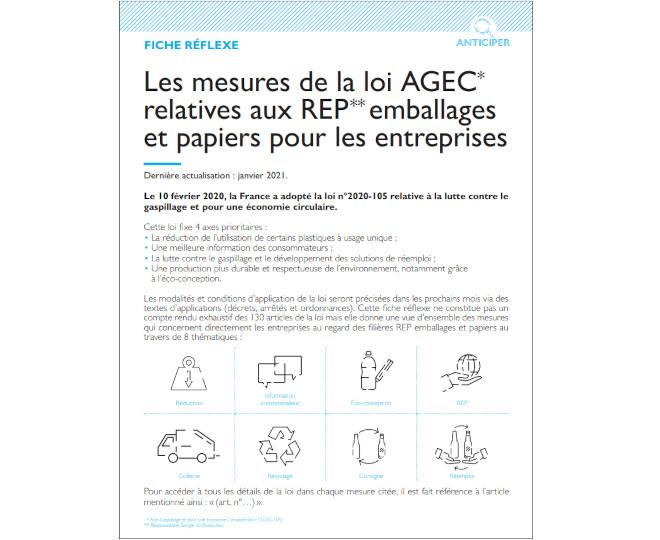 Fiche réflexe sur la loi AGEC Citeo emballages papiers